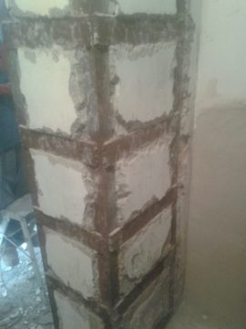 Rehabilitación de pilar por aluminosis